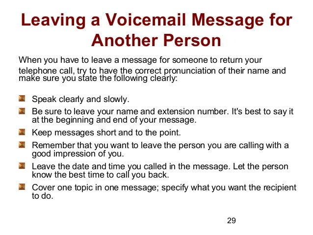 Telephone techniques 29 29 leaving a voicemail message m4hsunfo