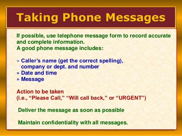 how to write a telephone message