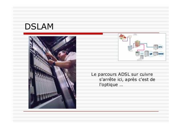 DSLAM Le parcours ADSL sur cuivre s'arrête ici, après c'est de l'optique …