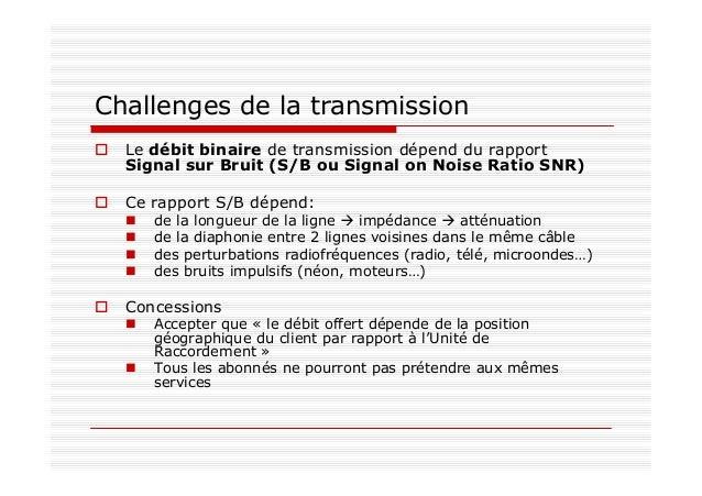 Challenges de la transmission Le débit binaire de transmission dépend du rapport Signal sur Bruit (S/B ou Signal on Noise ...