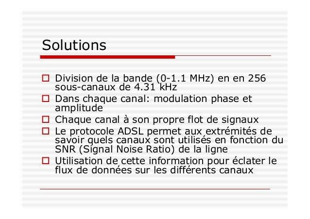 Solutions Division de la bande (0-1.1 MHz) en en 256 sous-canaux de 4.31 kHz Dans chaque canal: modulation phase et amplit...