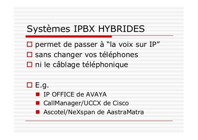 Passer de la téléphonie traditionnelle à la VoIP PABX Elément central de la téléphonie traditionnelle en entreprise Plusie...