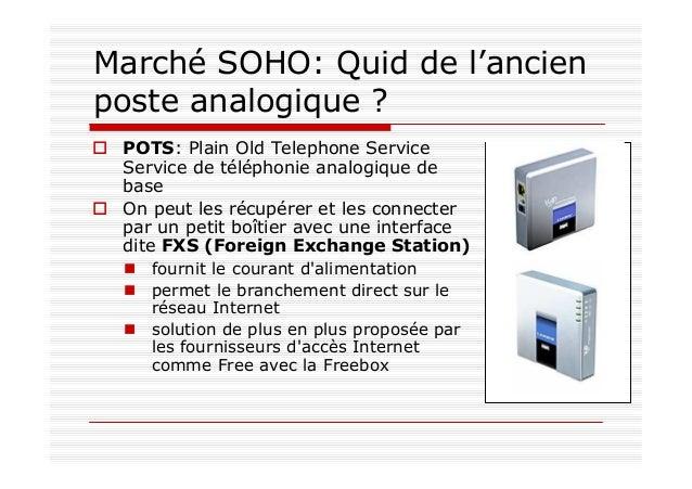 Marché SOHO: Quid de la ligne d'arrivée téléphonique ? Connexion à une interface dite FXO (Foreign Exchange Office) alimen...