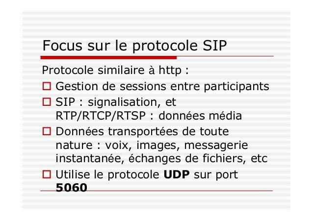 Qu'est ce que SIP ? protocole de signalisation utilisé pour ouvrir des sessions dans un environnement IP, les modifier et ...