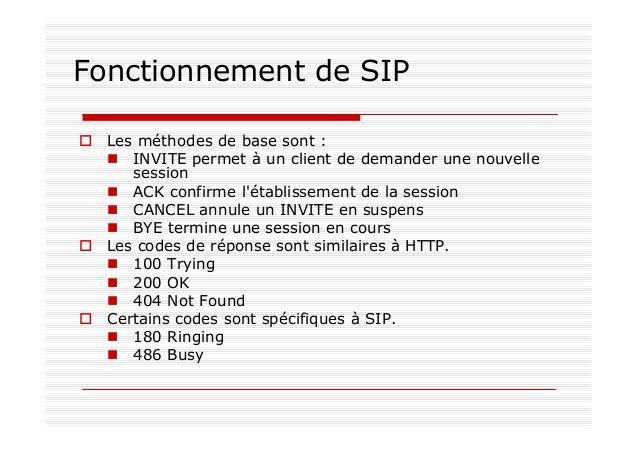 Distinctions On distingue les serveurs SIP en mode stateful et stateless : stateful mémorise l'association entre la requêt...