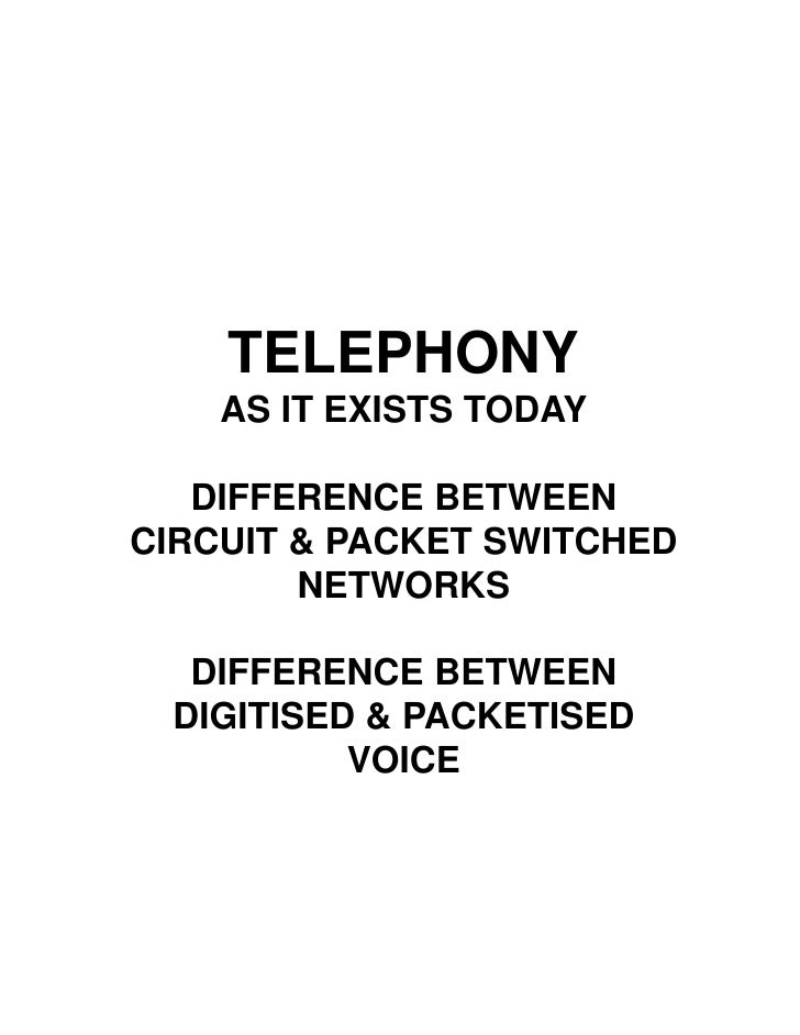 TELEPHONY     AS IT EXISTS TODAY     DIFFERENCE BETWEEN CIRCUIT & PACKET SWITCHED         NETWORKS    DIFFERENCE BETWEEN  ...