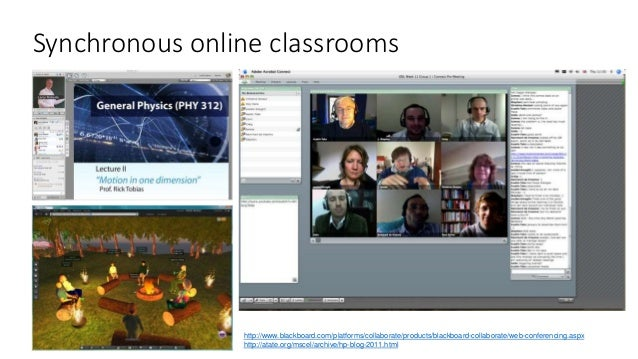 Synchronous online classrooms http://www.blackboard.com/platforms/collaborate/products/blackboard-collaborate/web-conferen...