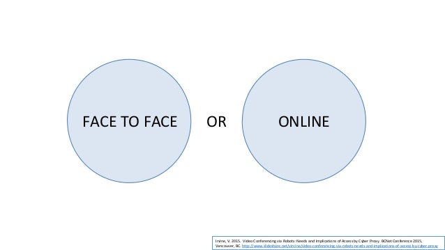 FACE TO FACE ONLINE*AND* BLENDED Irvine, V. 2015. Video Conferencing via Robots: Needs and Implications of Access by Cyber...