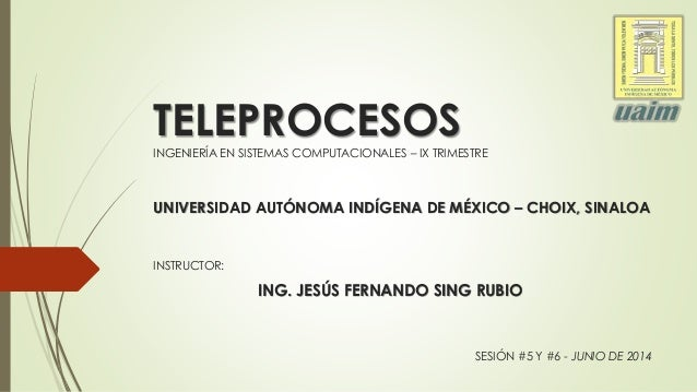 TELEPROCESOS  INGENIERÍA EN SISTEMAS COMPUTACIONALES – IX TRIMESTRE  UNIVERSIDAD AUTÓNOMA INDÍGENA DE MÉXICO – CHOIX, SINA...