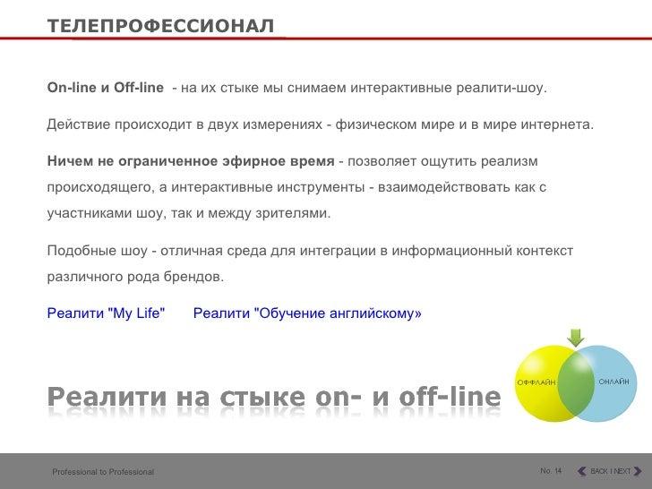 O n-line и  O ff-line  -  на их стыке мы снимаем интерактивные реалити-шоу.  Действие происходит в двух измерениях - физи...