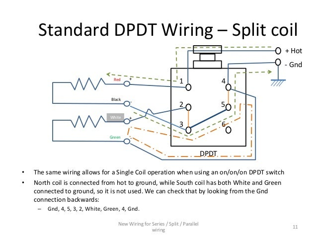 Split Coil Wiring Diagram: Series / Parallel wiring diagram for 4-conductor Humbucker Pickups,Design