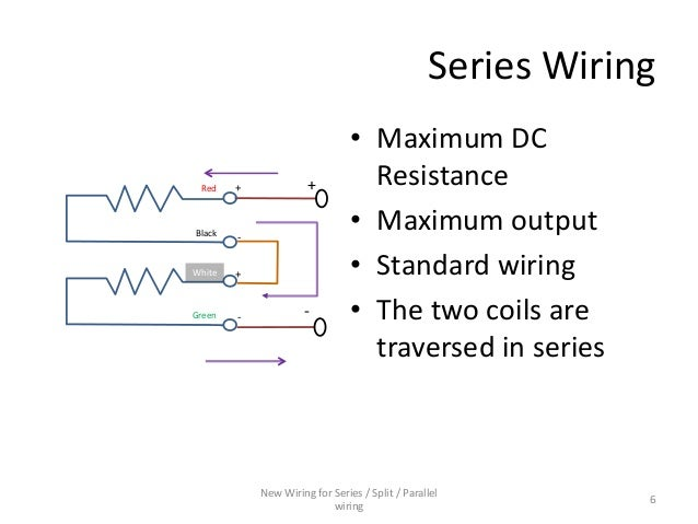 Series / Parallel wiring diagram for 4-conductor Humbucker Pickups
