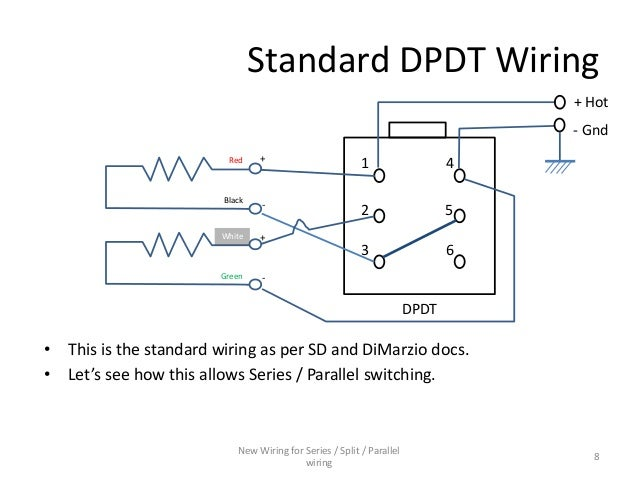 series parallel wiring diagram for 4 conductor humbucker pickups rh slideshare net Dpdt Relay Schematic Dpdt Relay Schematic
