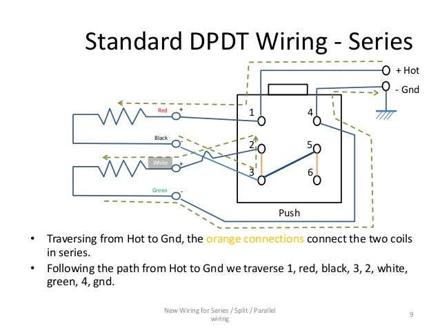 Series / Parallel wiring diagram for 4-conductor Humbucker Pickups on series vs. parallel subwoofer diagram, parallel circuit diagram, batteries in parallel diagram, series and parallel electrical wiring, series circuit diagram, series parallel speaker wiring calculator,