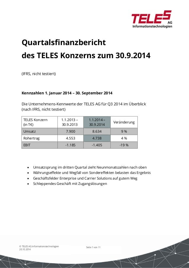 Seite 1 von 11© TELES AG Informationstechnologien 20.10.2014 Quartalsfinanzbericht des TELES Konzerns zum 30.9.2014 (IFRS,...