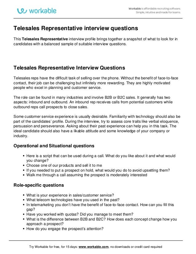 Telesales Representative Interview Questions This Telesales Representative  Interview Profile Brings Together A Snapshot Of.