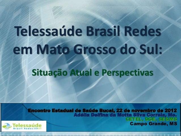 Telessaúde Brasil Redes em Mato Grosso do Sul: Situação Atual e Perspectivas  Encontro Estadual de Saúde Bucal, 22 de nove...