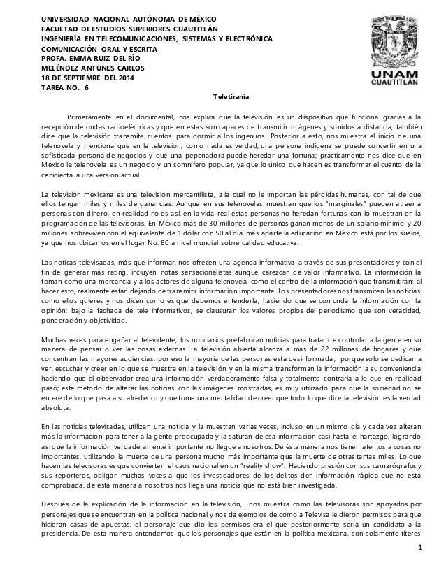 1  UNIVERSIDAD NACIONAL AUTÓNOMA DE MÉXICO  FACULTAD DE ESTUDIOS SUPERIORES CUAUTITLÁN  INGENIERÍA EN TELECOMUNICACIONES, ...