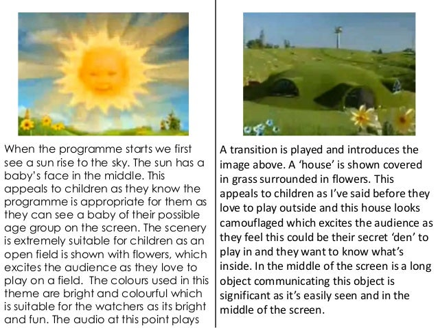 When the programme starts we first  see a sun rise to the sky. The sun has a  baby's face in the middle. This  appeals to ...