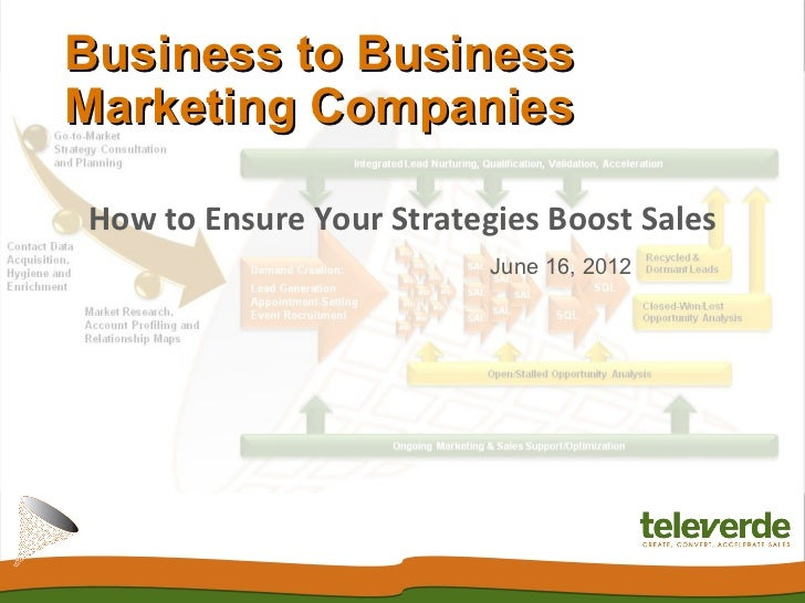 Business to BusinessMarketing CompaniesHow to Ensure Your Strategies Boost Sales                          June 16, 2012