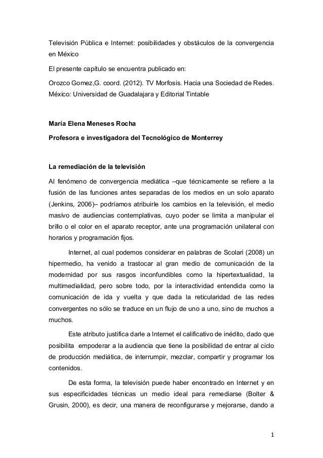 Televisión Pública e Internet: posibilidades y obstáculos de la convergenciaen MéxicoEl presente capítulo se encuentra pub...