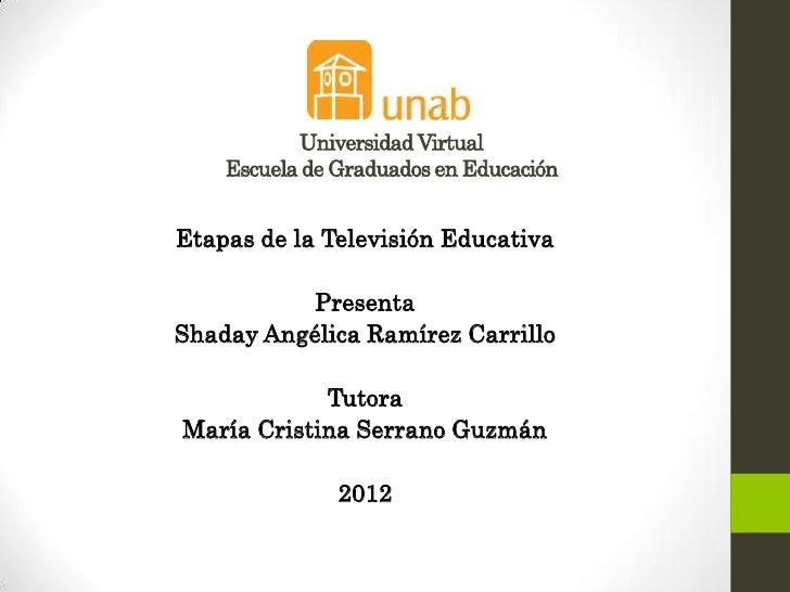Universidad Virtual    Escuela de Graduados en EducaciónEtapas de la Televisión Educativa           PresentaShaday Angélic...