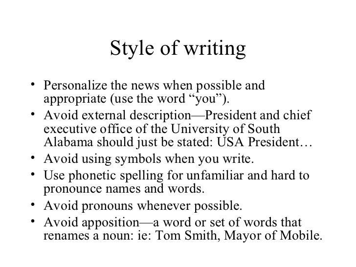 News broadcast writing style