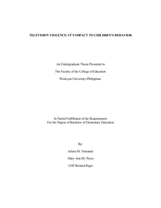 thesis on media violence