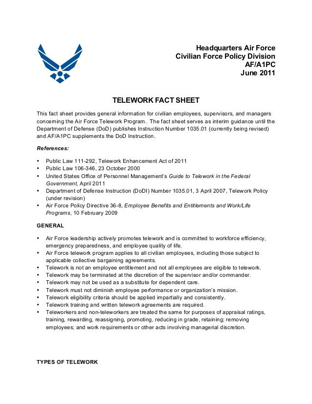 Telework Fact Sheet Headquarters Air Force Civilian Force Policy Div