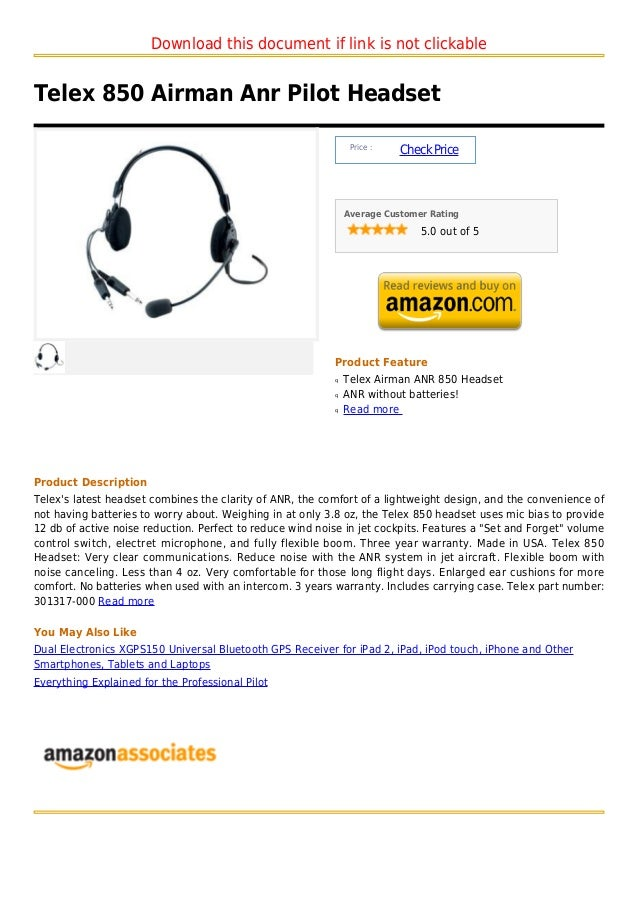 Download this document if link is not clickableTelex 850 Airman Anr Pilot Headset                                         ...