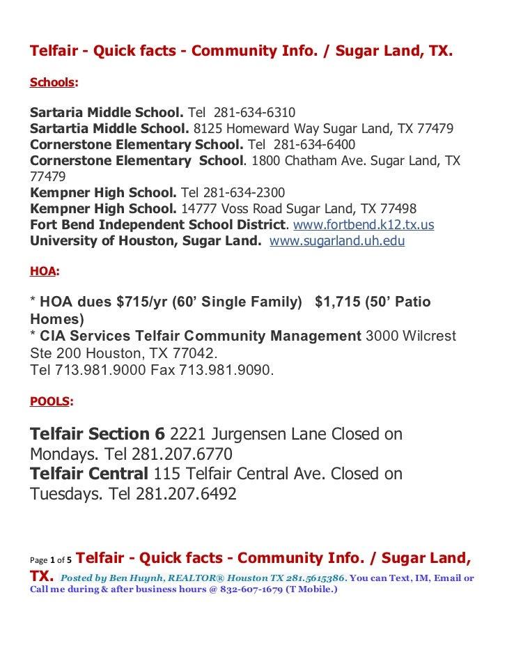 Telfair - Quick facts - Community Info. / Sugar Land, TX.Schools:Sartaria Middle School. Tel 281-634-6310Sartartia Middle ...