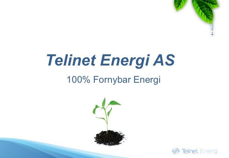 Telinet Energi AS  100% Fornybar Energi