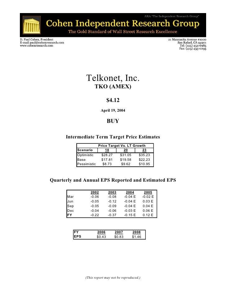 Telkonet, Inc.                          TKO (AMEX)                                      $4.12                             ...