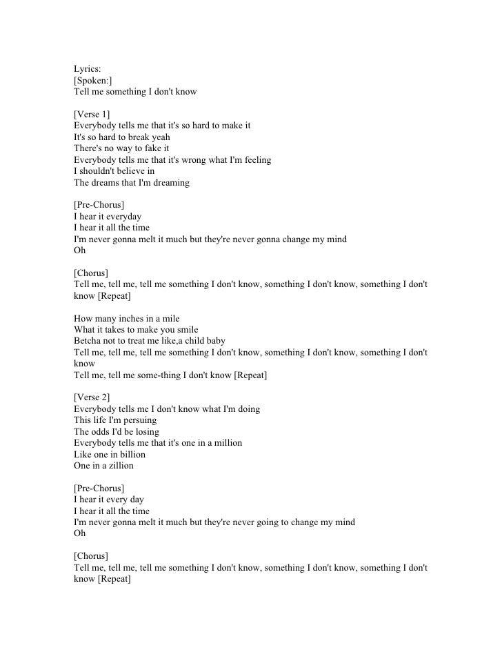 Lyric lyrics to something : Tell