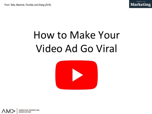 From: Tellis, MacInnis, Tirunillai, and Zhang (2019) How to Make Your Video Ad Go Viral