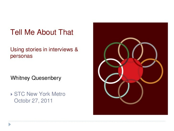 Tell Me About ThatUsing stories in interviews &personasWhitney Quesenbery   STC New York Metro    Octobr 27, 2011