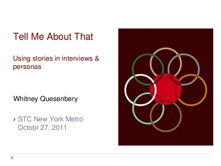 Tell Me About ThatUsing stories in interviews &personasWhitney Quesenbery   STC New York Metro    Octobr 27, 2011