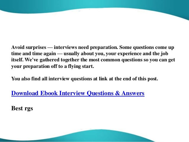 Nice 5. Avoid Surprises U2014 Interviews ...