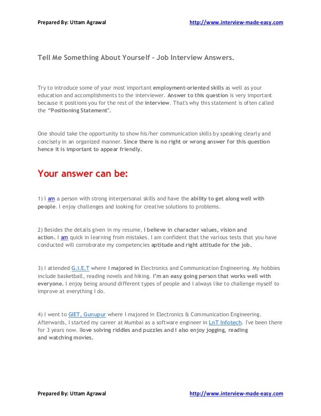 What To Say About Myself On A Resume Manual Guide Example 2018