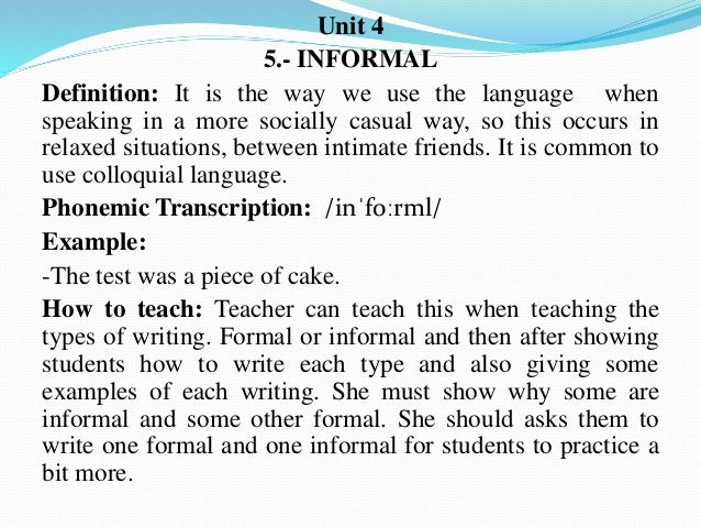 definition of informal speech
