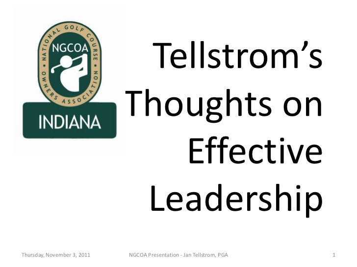 Tellstrom's                             Thoughts on                                Effective                              ...