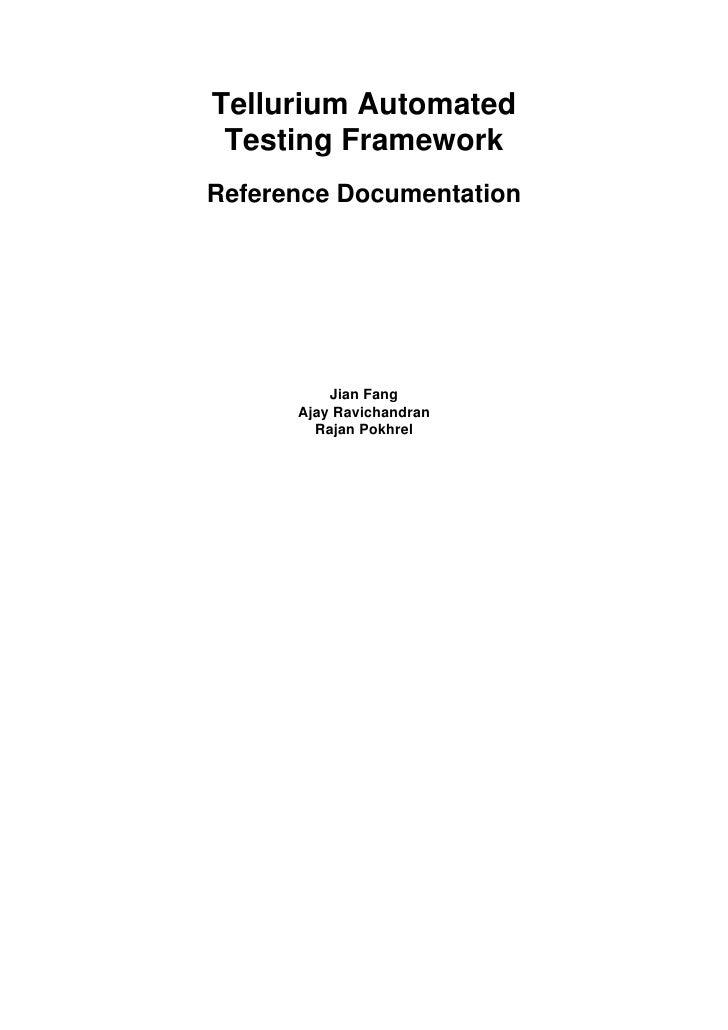 Tellurium reference Document 0.7.0