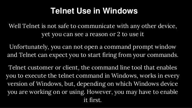 Telnet Use in Windows