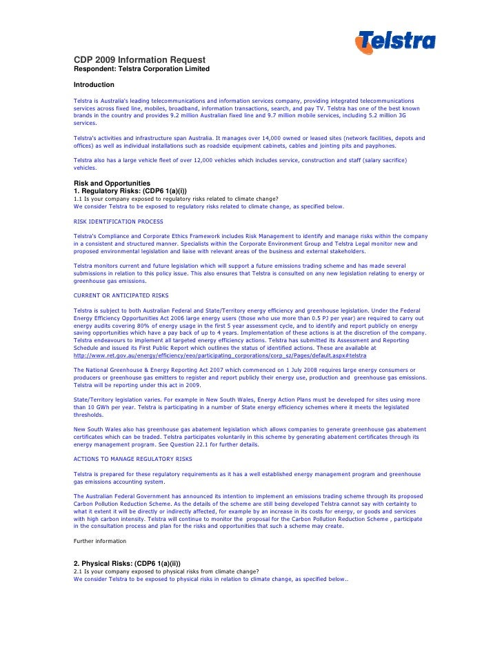 CDP 2009 Information Request Respondent: Telstra Corporation Limited  Introduction  Telstra is Australia's leading telecom...