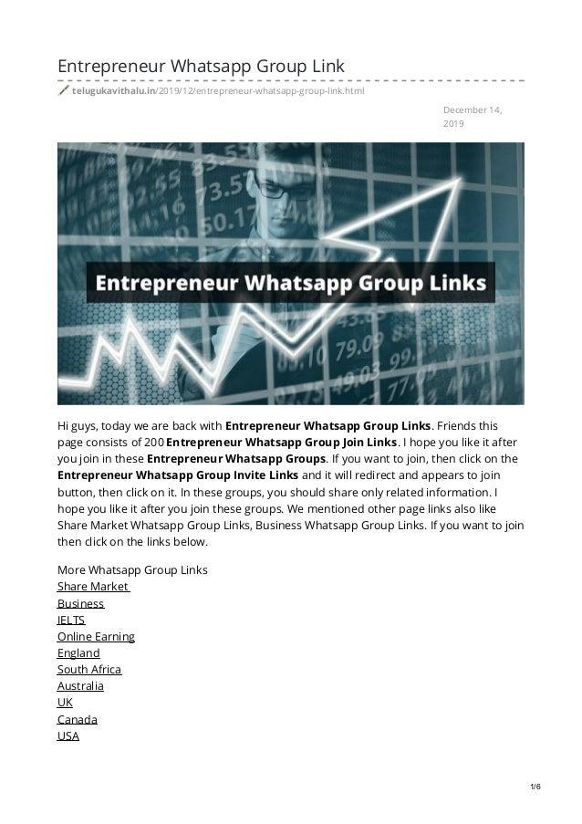 Telugukavithalu In Entrepreneur Whatsapp Group Link