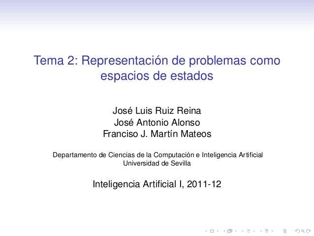Tema 2: Representación de problemas como espacios de estados José Luis Ruiz Reina José Antonio Alonso Franciso J. Martín M...