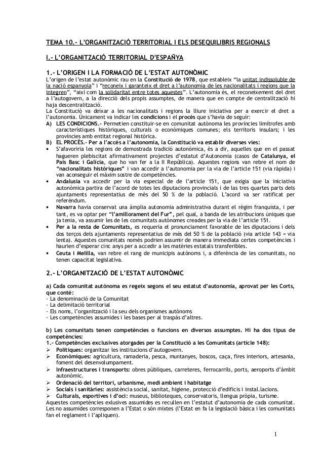 TEMA 10.- L'ORGANITZACIÓ TERRITORIAL I ELS DESEQUILIBRIS REGIONALS I.- L'ORGANITZACIÓ TERRITORIAL D'ESPAÑYA 1.- L'ORIGEN I...