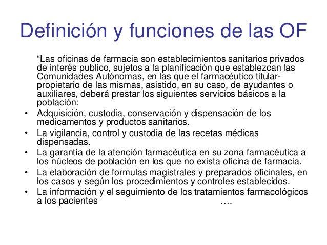 Tema 10 la oficina de farmacia privada for Funciones de una oficina wikipedia