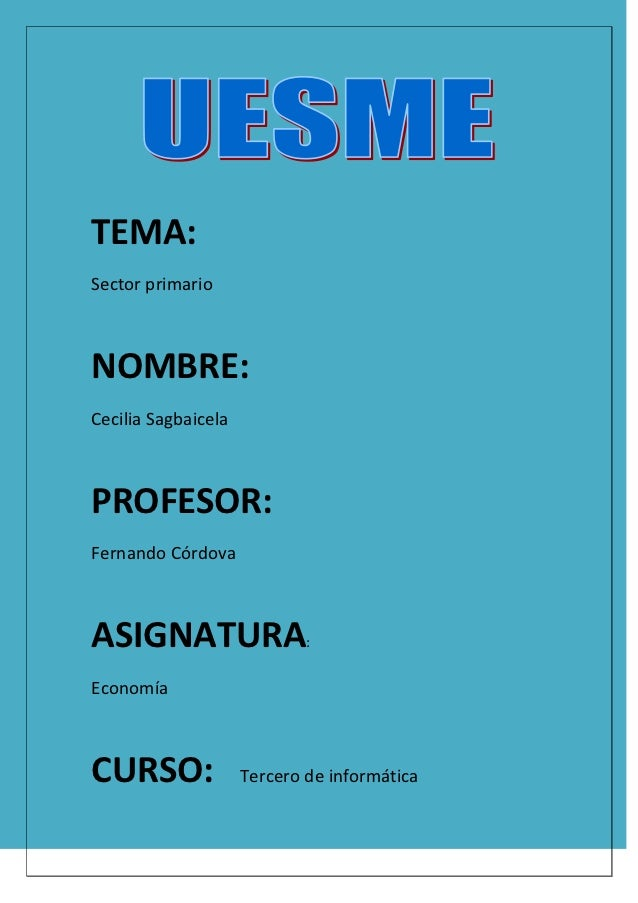 TEMA:Sector primarioNOMBRE:Cecilia SagbaicelaPROFESOR:Fernando CórdovaASIGNATURA                   :EconomíaCURSO:        ...