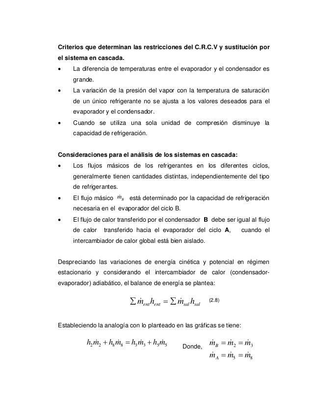 Criterios que determinan las restricciones del C.R.C.V y sustitución porel sistema en cascada.•    La diferencia de temper...
